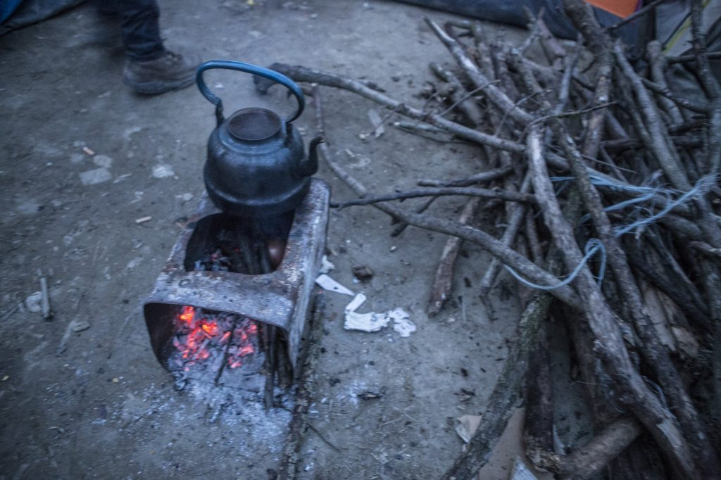 A pot used to boil some water for family's needs in Idomeni camp.
